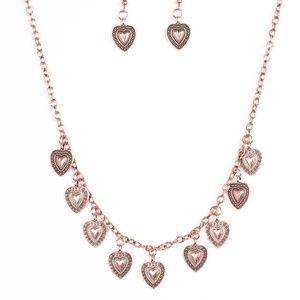 Copper necklace/earrings paparazzi